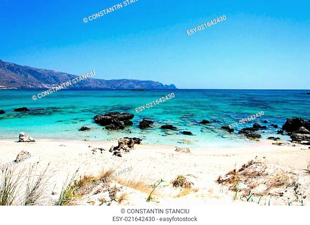Elafonissi beach, with pinkish white sand and turquoise water, island of Crete, Greece