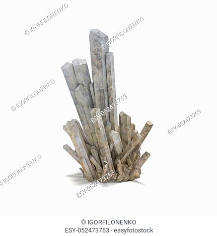 Big Natural Crystal Isolated on White 3d rendering