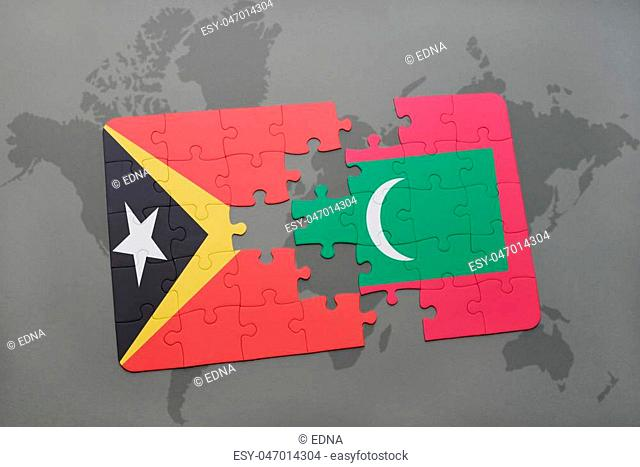 puzzle with the national flag of east timor and maldives on a world map background. 3D illustration