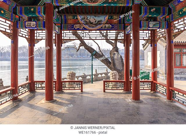 View from a lakeside pavilion at Beihai Park, Beijing, China