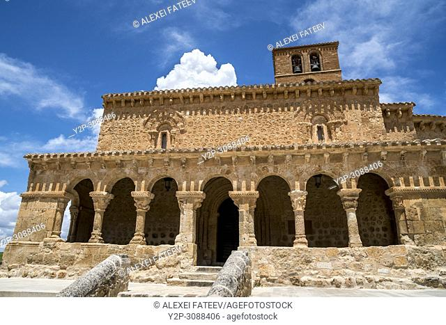 Romanesque church San Miguel of 11th century in small town San Esteban de Gormaz in province Soria, Castile-Leon, Spain