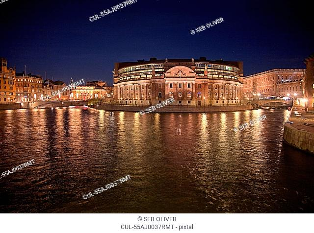 Parliament building at night, Stockholm, Sweden
