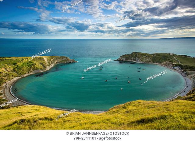 Evening view over Lulworth Cove along the Jurassic Coast, Dorset, England