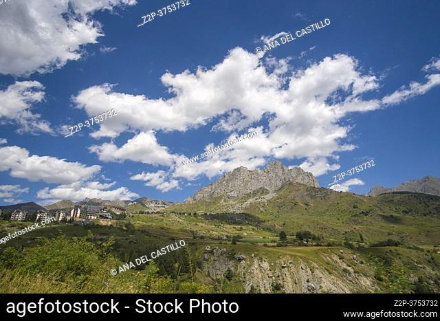 Formigal Huesca Aragon Spain on August 20, 2020, the ski resort in summer. Penya Foratata mountain in background