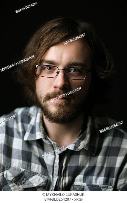 Close up of Caucasian man with beard