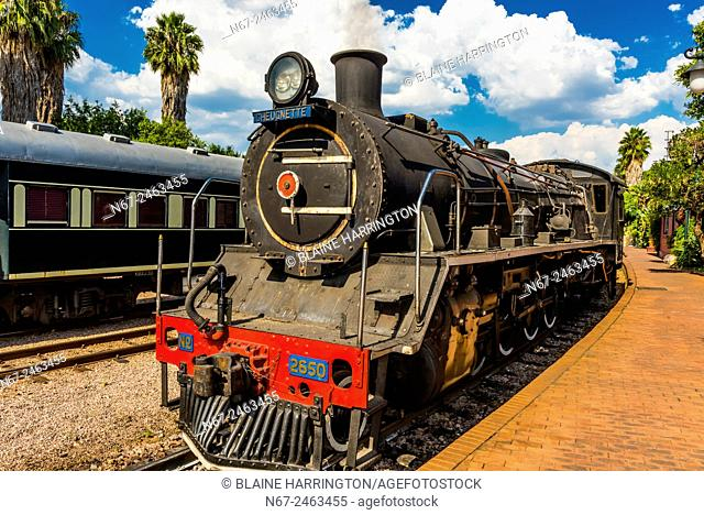 Steam locomotive brought out for demonstration (not used to pull train any longer), Rovos Rail Station, Capital Park, Pretoria (Tshwane), South Africa
