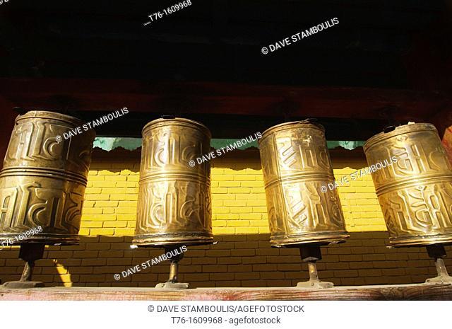 prayer wheels at Gandan Monastery in Ulan Baatar, Mongolia