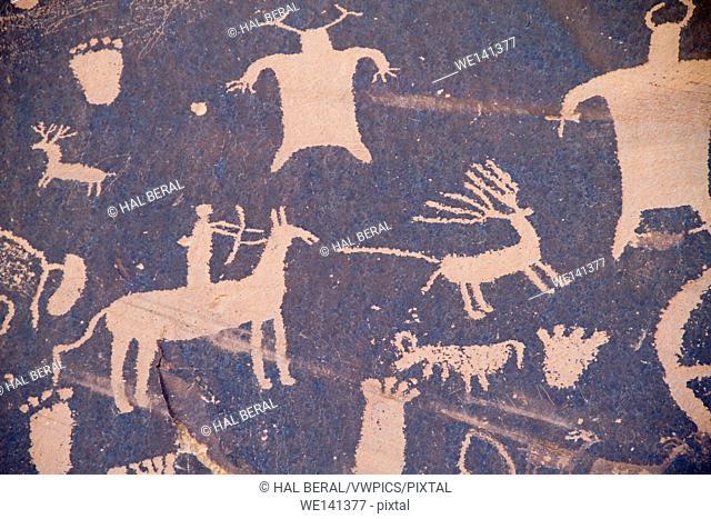Native American petroglyphs including hunting scene. Newspaper Rock Recreation Area,Utah