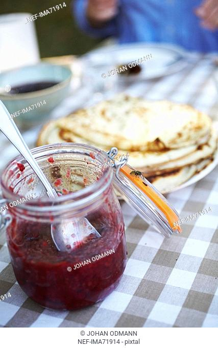 A wasp on a jam jar Sweden