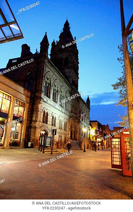 Town hall Chester at dusk Cheshire UK
