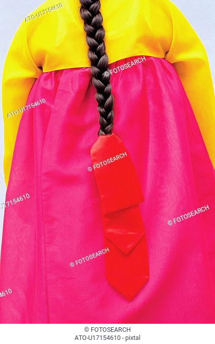 pigtail, korean dress, hanbok, pigtail ribbon, clothes, braided pigtail, tradition
