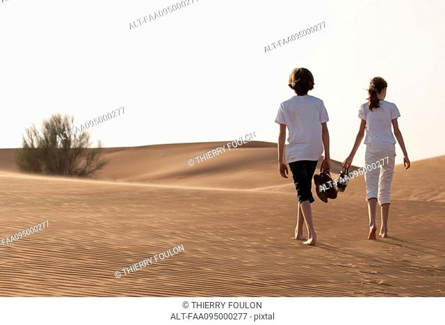 Children walking in desert, rear view
