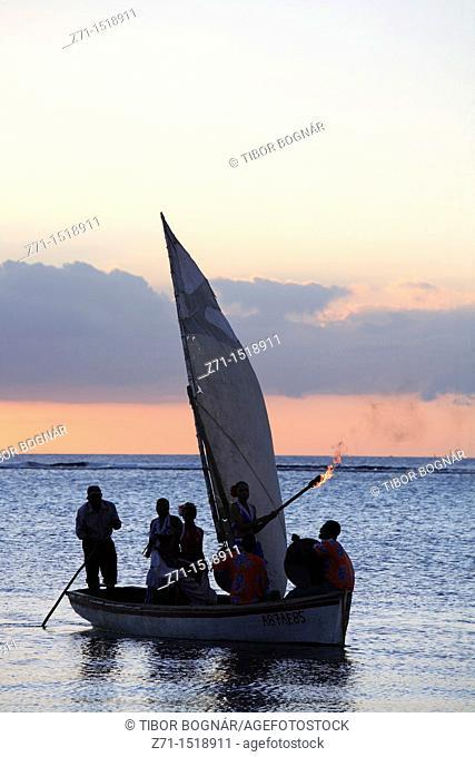 Mauritius, Trou aux Biches, sunset, sailboat, people