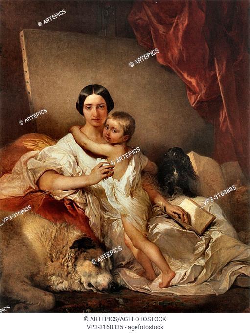 Gallait Louis - Portret Van Mevrouw Gallait En Haar Dochter