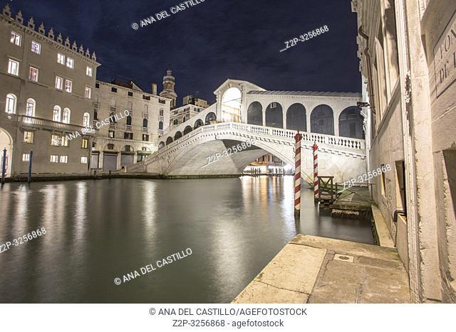 Venice, Veneto, Italy : Twilight at Grand Canal. Rialto bridge