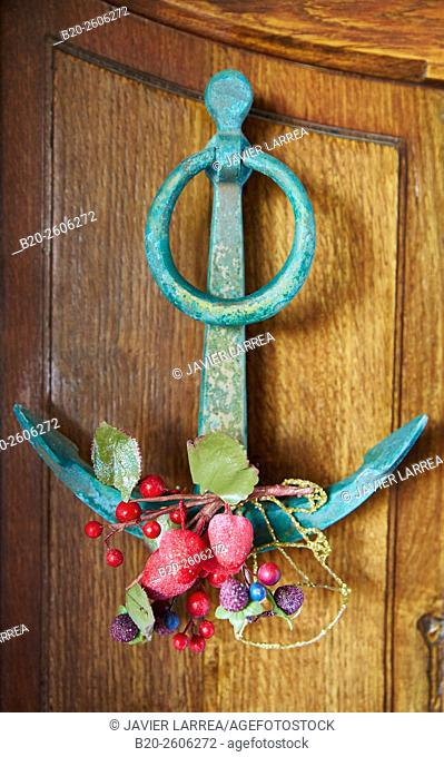 Christmas ornament, Door knocker, Hendaye, Aquitaine, Pyrenees-Atlantiques, France