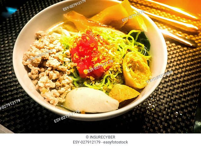 delicious Yen Ta Four noodle, Thailand,Lighting with sun flare