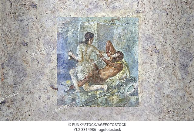Roman Erotic Fresco from Pompeii depicting Satyr being rejected by Hermaphrodite, Naples National Archaeological Museum - 50-79 AD , inv no 110878