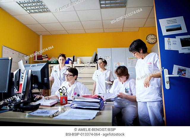 Reportage in Bligny hospital palliative care unit, Briis sous Forges, France. Nurses' office