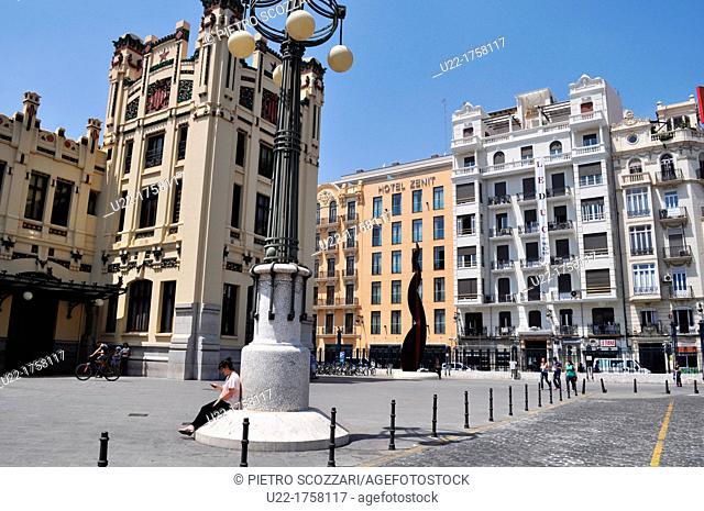 Valencia, Spain: buildings by calle Játiva and the Estación del Norte train station