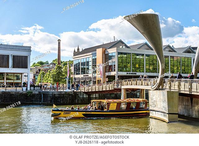 Pero`s Bridge at the Millenium Square Landing in the Floating Harbour of Bristol, Somerset, England, United Kingdom