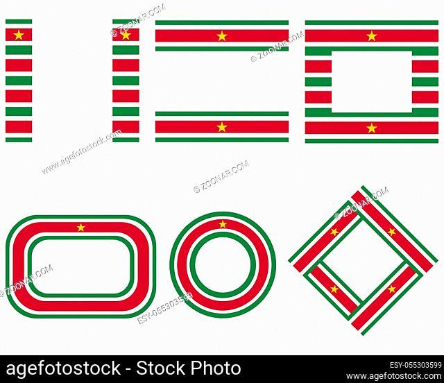 Fahnen von Surinam mit Textfreiraum - Flags of the Suriname with copy space