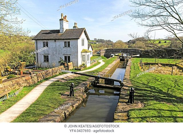 """This is the tenth lock on the Caldon canal. Like all locks on this canal it is a single width lock (approx 7' 6""""""""). It is the top lock of a flight of three..."""
