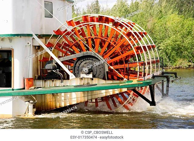 Sternwheeler Churning Moves Riverboat Paddle Steamer Vessel Down