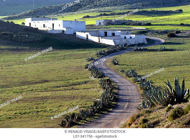 Typical white-washed Andalucian house. Cabo de Gata. Andalucia. Spain