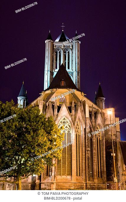 Illuminated cathedral and bell tower