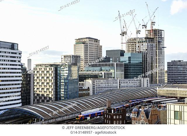United Kingdom Great Britain England, London, South Bank, Waterloo Station, train station shed track canopy, city skyline, buildings, Southbank Place