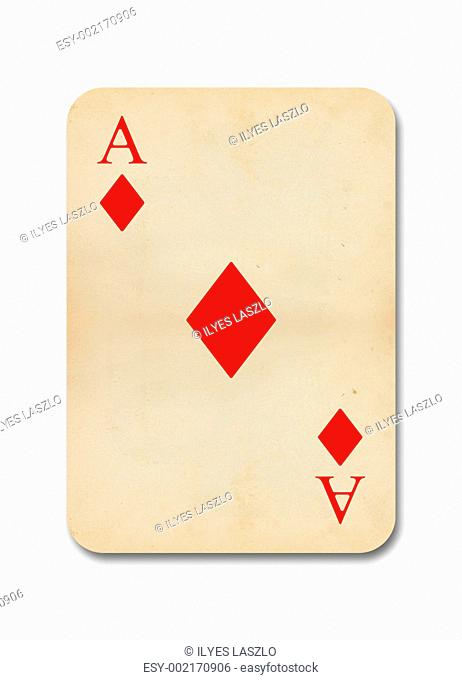 isolated old vintage aces card
