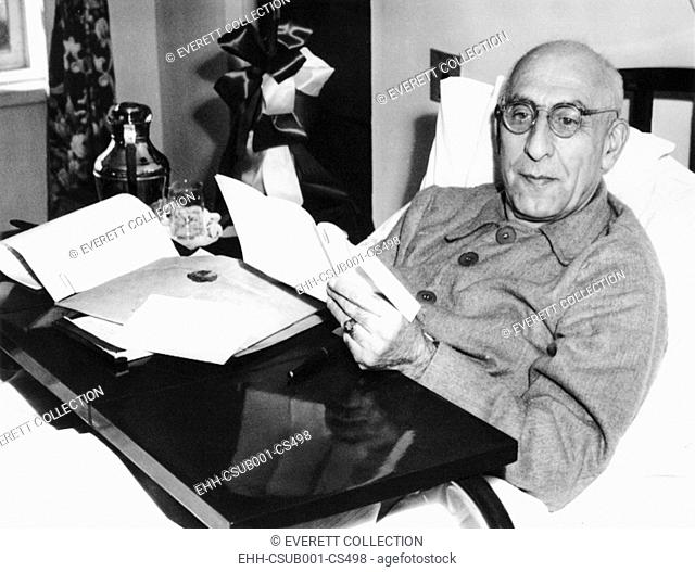 Iranian premier Mohammed Mossadegh in his suite at New York Hospital, Oct. 12, 1951. The 69 year old leader rested before pleading Iran's case against Britain...
