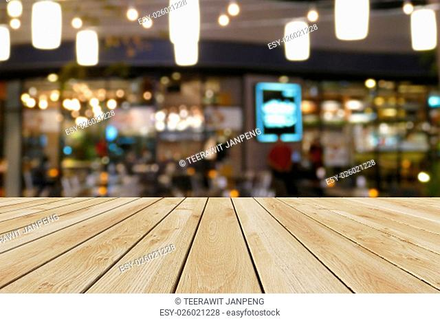 Perspective wood and bokeh light background. product display template