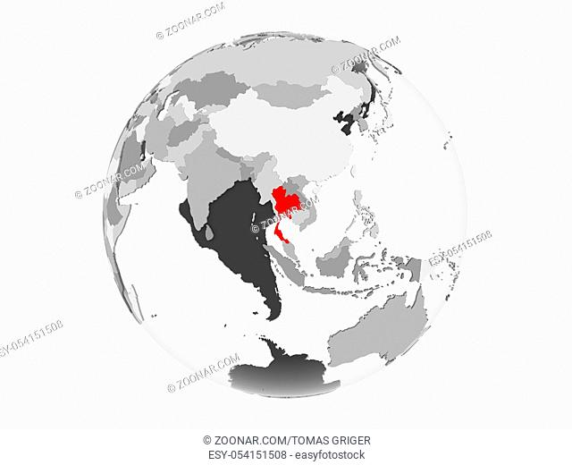 Thailand highlighted in red on grey political globe with transparent oceans. 3D illustration isolated on white background