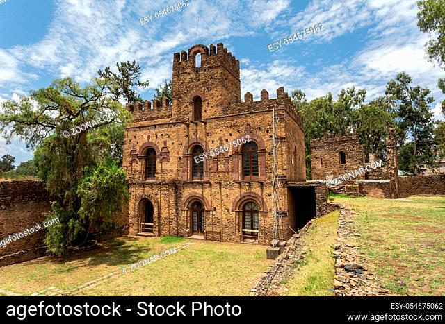 ruins of Fasil Ghebbi, Royal fortress-city castle in Gondar, Ethiopia. Imperial palace is called Camelot of Africa. UNESCO World Heritage Site
