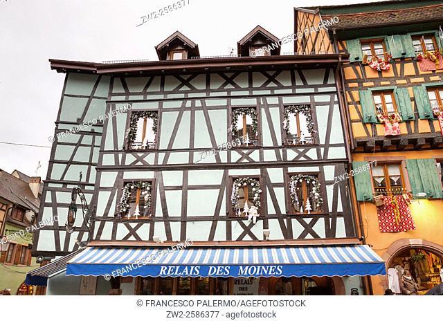 Typical building Alsatian houses. Riquewihr, Alsace. France