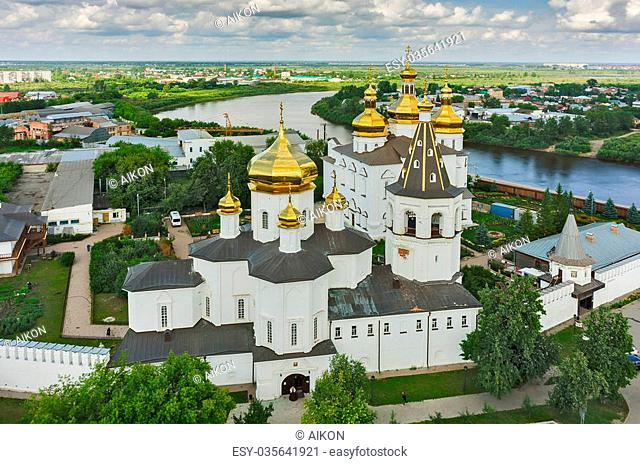 Tyumen, Russia - July 15, 2015: Aerial view on Holy Trinity Monastery. Church of Saints Peter and Paul and Holy Trinity Cathedral