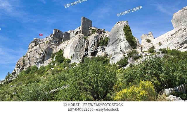 Les Baux-de-Provence historic castle. Bouches du Rhone, Provence, France, Europe