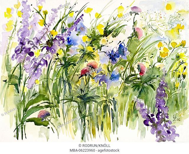 Watercolor by Waltraud Zizelmann, Wildflowers