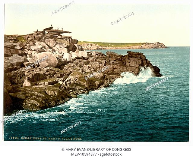 Scilly Isles, St. Mary's Pulpit Rock, Cornwall, England. Date between ca. 1890 and ca. 1900