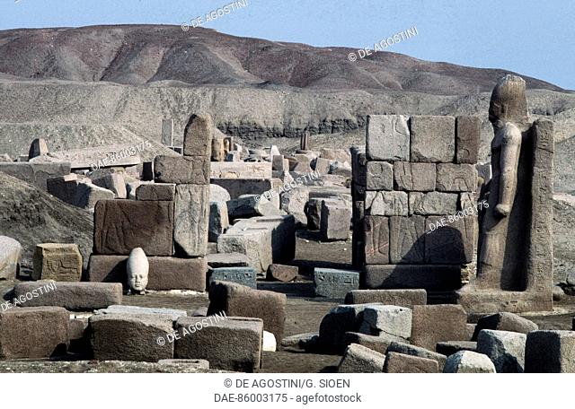 Ruins of the Great Temple of Amun, Tanis, Egypt. Egyptian civilisation, Third Intermediate Period, Dynasty XXII