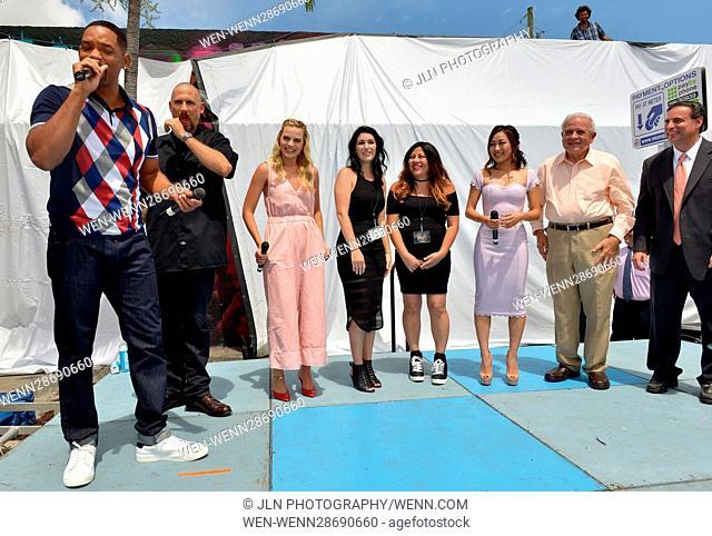 'Suicide Squad' Wynwood Block Party and Mural Reveal in Miami, Florida Featuring: Will Smith, David Ayer, Margot Robbie, Amanda Valdes, Didirok, Karen Fukuhara