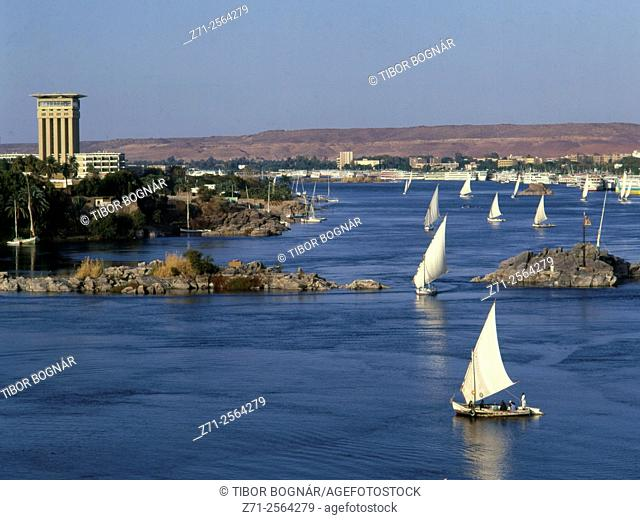 Egypt, Aswan, Nile River, feluccas, sailboats,
