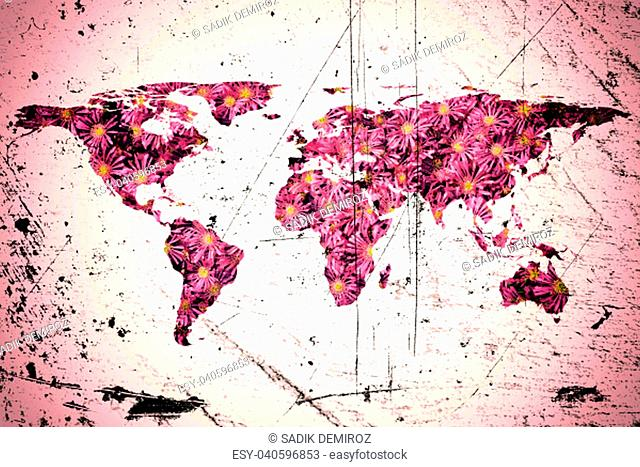 isolated flat world map and flowers. NASA flat world map image is used to furnish this image