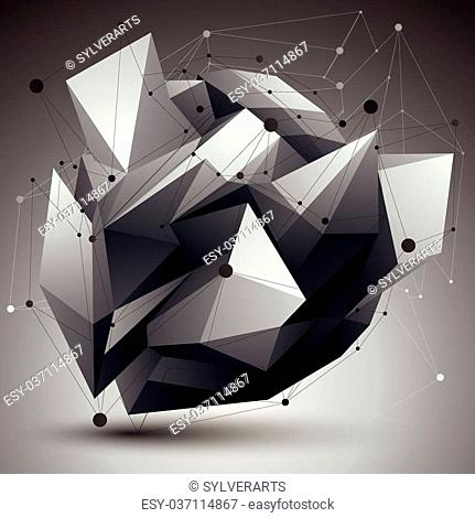 Geometric monochrome polygonal structure with lines mesh, vector modern science and technology element