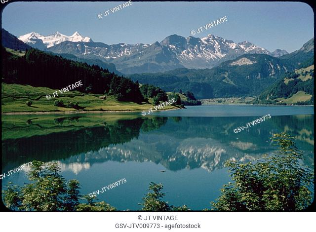 Reflection of Kaisershuhl Mountains in Lake Lungern, Obwalden, Switzerland, 1964