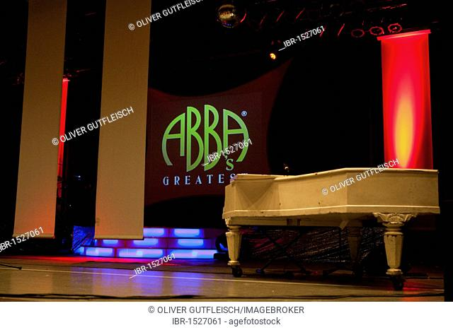 Stage set shortly before the start of the show ABBA's Greatest, Gersag Centre, Emmenbruecke, Lucerne, Switzerland, Europe