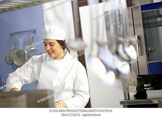 Cook cooking in restaurant kitchen