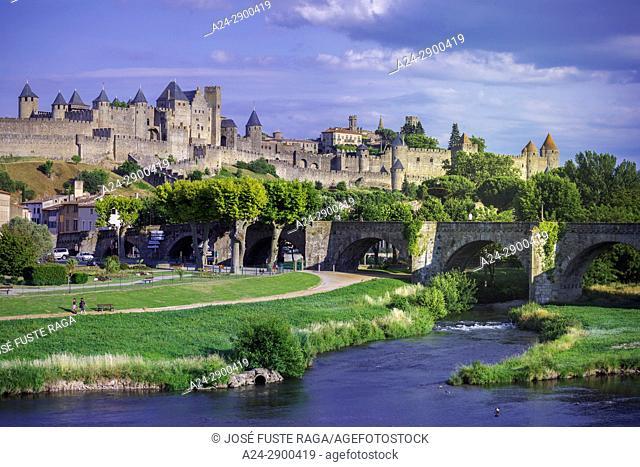 France, Aude region, Carcassonne city, la cite, medieval fortress, W. H. ,
